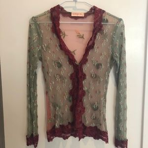 ALANNAH HILL SHEER FLORAL CARDIGAN AUS 8/US 2/4